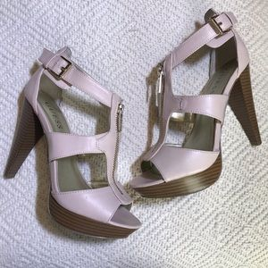Guess Pink Leather Stacked Heel Platform 7.5